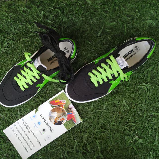 Giày bata warrior đen sọc xanh lá ( hàng chính hãng Warrior )