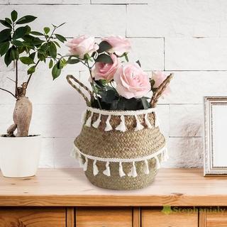 Giỏ Đựng Hoa / Đồ Chơi Handmade Phối Tua Rua Màu Trắng Có Thể Gấp Gọn Tiện Lợi