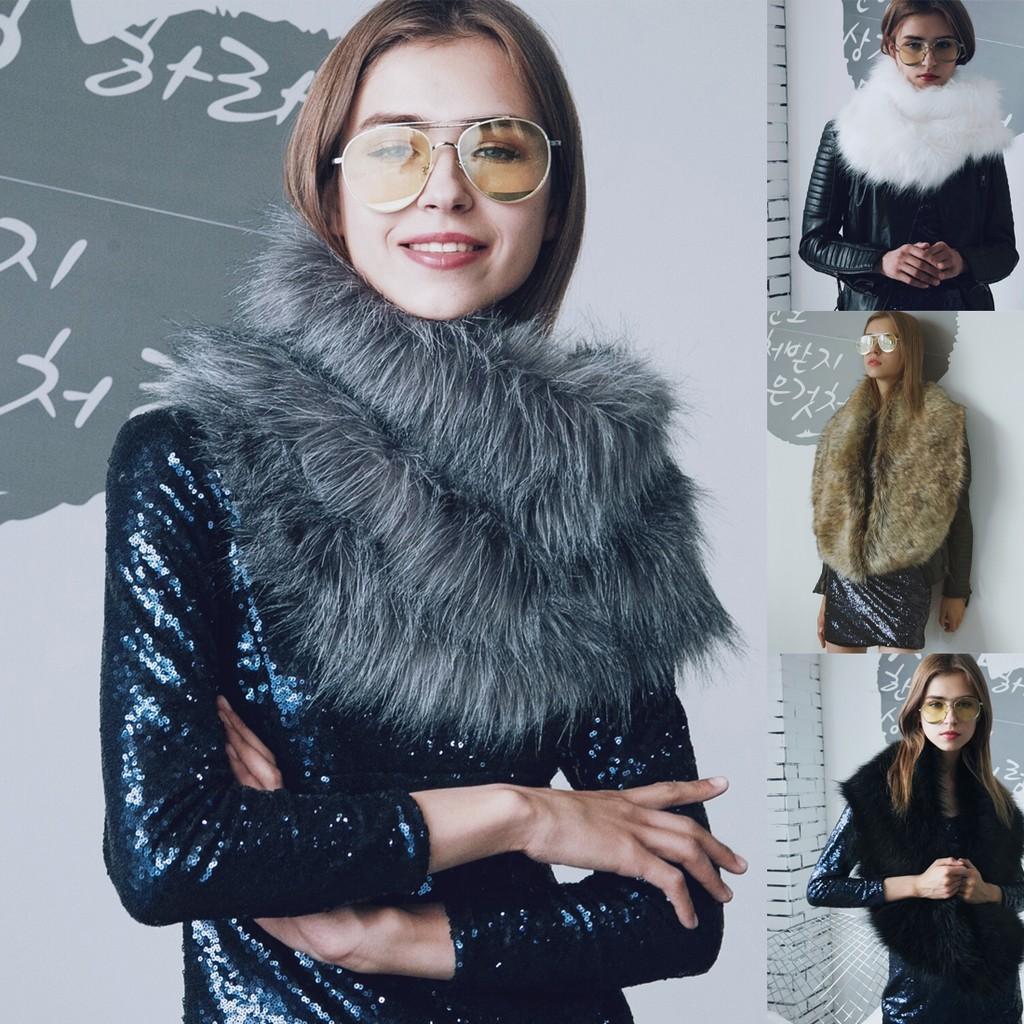 CICItop!Women Faux Fox Fur Scarf Shawl Wrap Cape Stole Collar