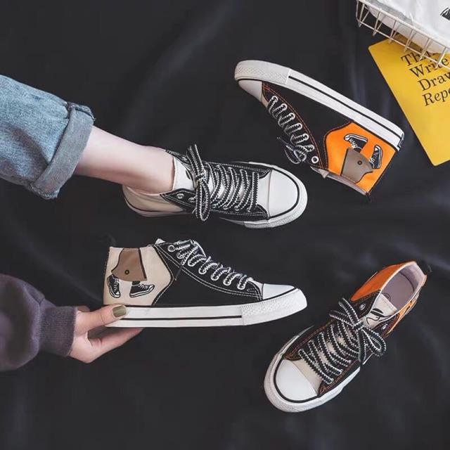 Giày cao cổ hoạ tiết Đôi Giày cá tính