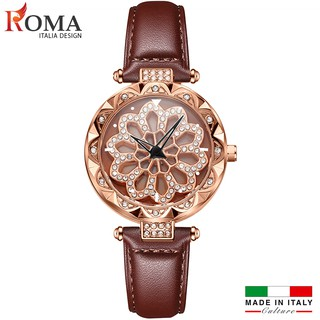 (Nghệ thuật) Đồng hồ nữ ROMA ITALIA XOAY 360 Dây Da Cao Cấp
