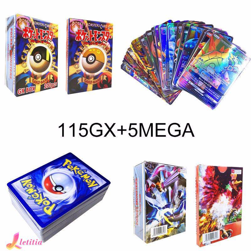 120Pcs 115 GX + 5 MEGA Pokemon Cards Holo Flash Trading Cards Bundle Mixed LOT Letitia