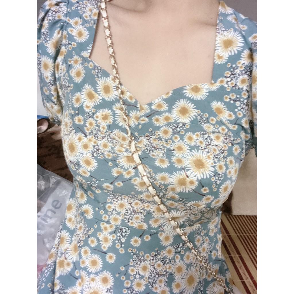 [Mã WACB21 hoàn 20% tối đa 50K xu đơn 99K] Đầm Tay Ngắn Cổ Vuông Họa Tiết Hoa Cúc Thời Trang