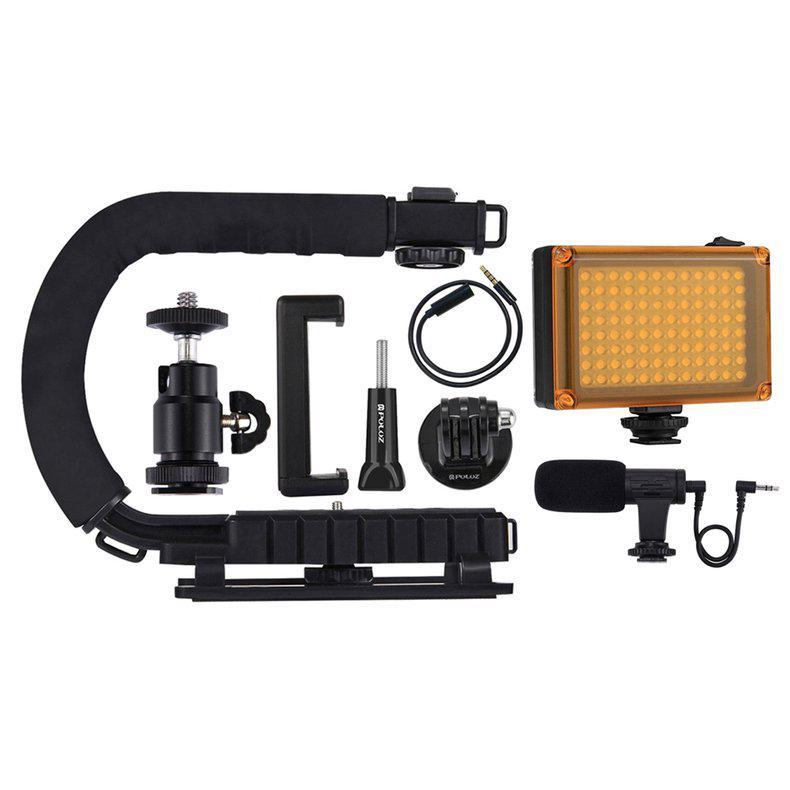 PULUZ U/C Shape DV Bracket Stabilizer LED Studio Light Microphone Tripod Head