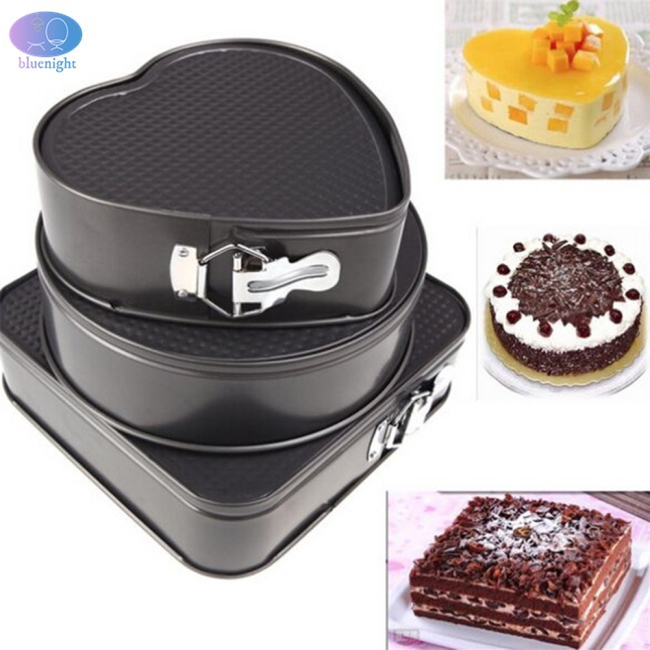 3Pcs/Set Square Round Heart Shape Cake Mold Non Stick Baking Tray with Buckle Bakeware