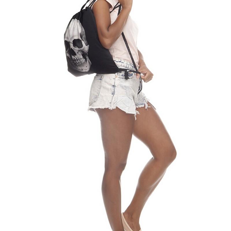 [miqin3.vn] Fashion Skull Backpack 3D Printing Travel Softback Portable Drawstring Backpacks CL