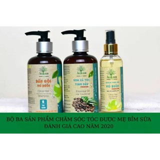 Combo 3 sản phẩm chăm sóc tóc AmeGreen: Dầu gội tinh dầu vỏ bưởi, Serum tinh dầu vỏ bưởi, Kem xả tóc tinh dầu cà phê