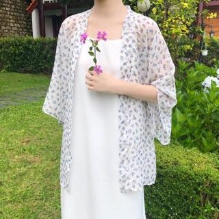 Kimono trắng hoa tím xanh Betterista thumbnail
