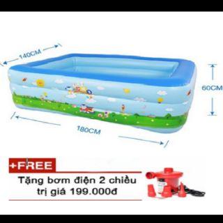 Bể bơi 3 tầng 1M8 cho trẻ tặng kèm bộ vá bể kèm bơm điện