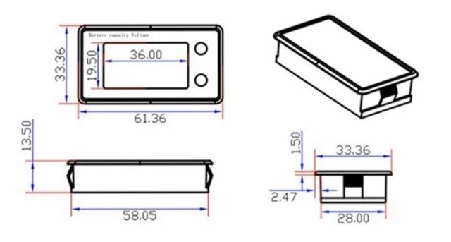 Bộ hiển thị điện áp, % điện áp 8v-100v có còi báo, màn LCD