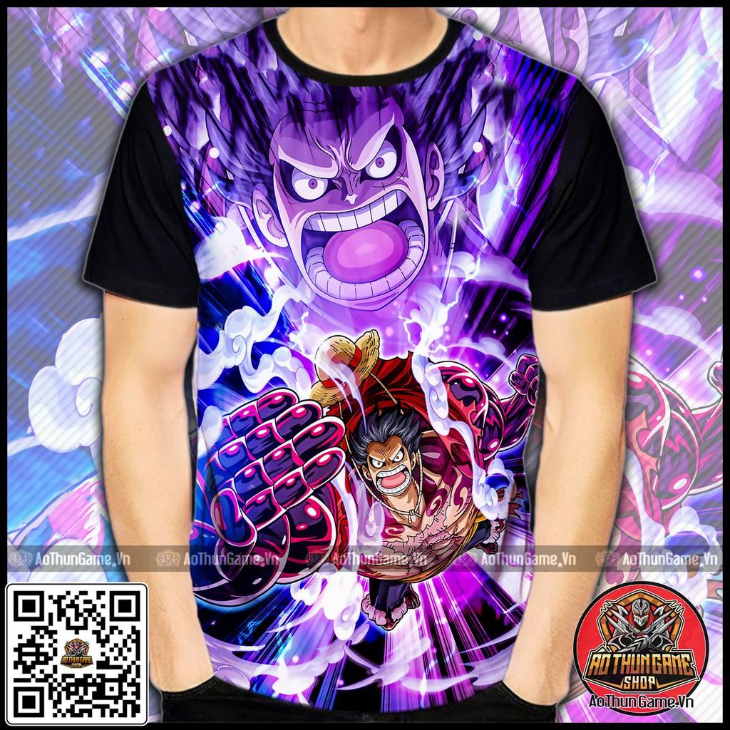 ☘️ Áo One Piece Luffy Gear 4 (3D Đen) Luffy Mũ Rơm Gear 4, áo đảo hải tặc Anime Manga ☘️ (Shop AoThunGameVn)