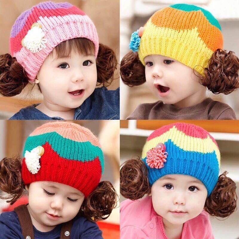 Mũ len cài tóc giả cho bé gái - 15366412 , 759351254 , 322_759351254 , 65000 , Mu-len-cai-toc-gia-cho-be-gai-322_759351254 , shopee.vn , Mũ len cài tóc giả cho bé gái