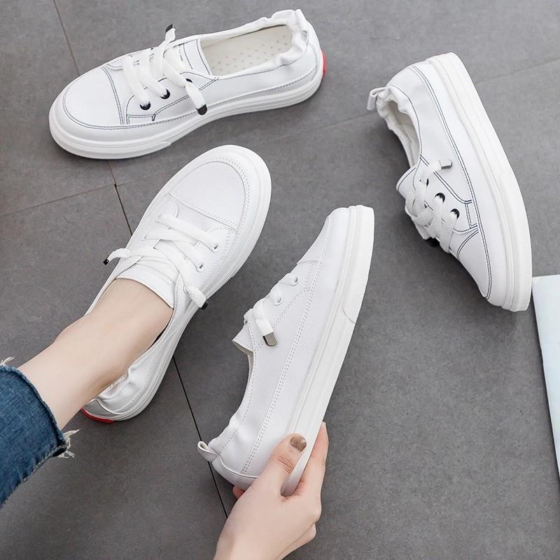 Slipon da nữ - Giày lười da nữ - Da PU màu trắng - Mã SP: 2216/2218