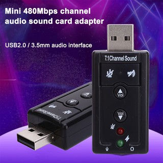 Audio Sound Card Adapter Audio Adapter Mini 3.5mm Audio Black