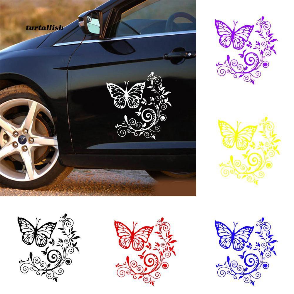 TUR♥Butterfly Flower Hood Tailgate Side Window Decal Car Truck Sticker Decoration