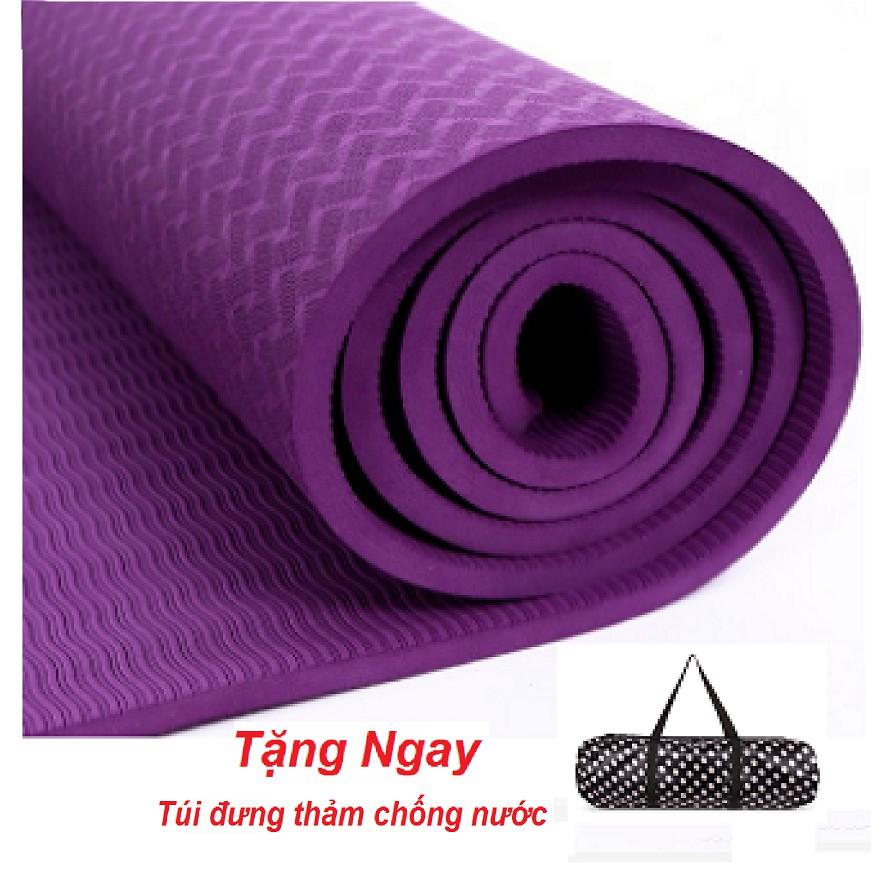 Thảm tập yoga TPE 8mm Cao Cấp Một Lớp (Tím) thảm chất lượng có túi đựng