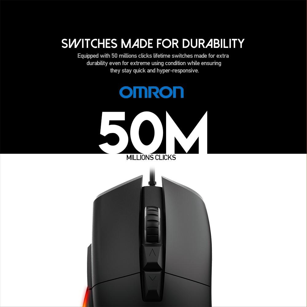 Chuột chơi Game FANTECH UX1, 50 triệu lần click, DPI 16000, 8 nút macro 400 iPS sử dụng cáp USB và đèn LED RGB