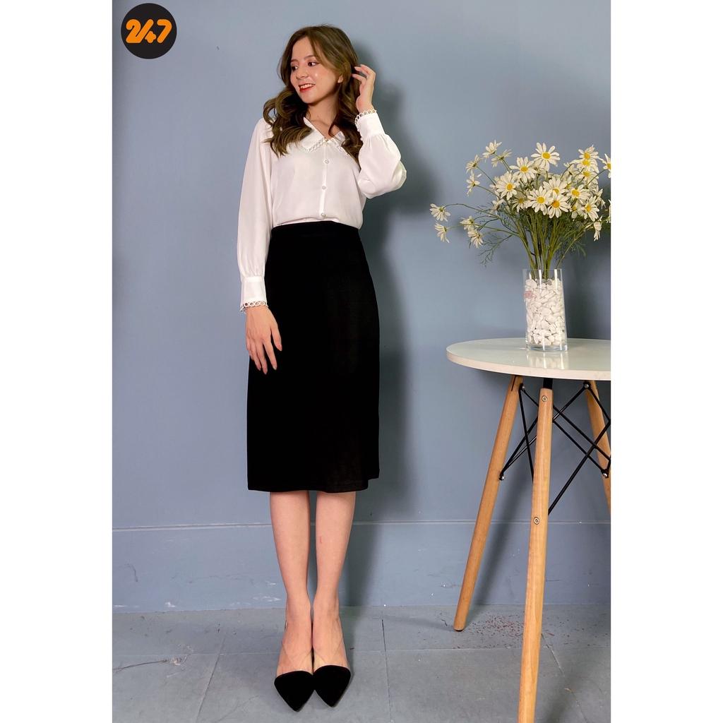 Chân váy midi dáng A suông dài màu đen/be