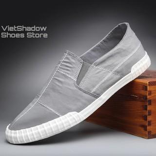 Slip on nam - Giày lười vải nam cao cấp BAODA - Vải polyester 4 màu đen full, đen trắng, xám và khaki - Mã 9070 thumbnail