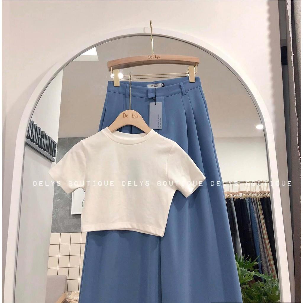 Áo croptop nữ trắng cổ tròn trơn basic vải cotton mặc mát lên dáng cực xinh thời trang nữ Banamo Fashion áo croptop 313
