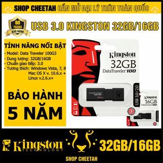 [Mã ELFLASH5 giảm 20K đơn 50K] USB 3.0 Kingston DataTraveler 100G3 – Dung lượng 32GB/16GB – CHÍNH HÃNG – Bảo hành 5 năm