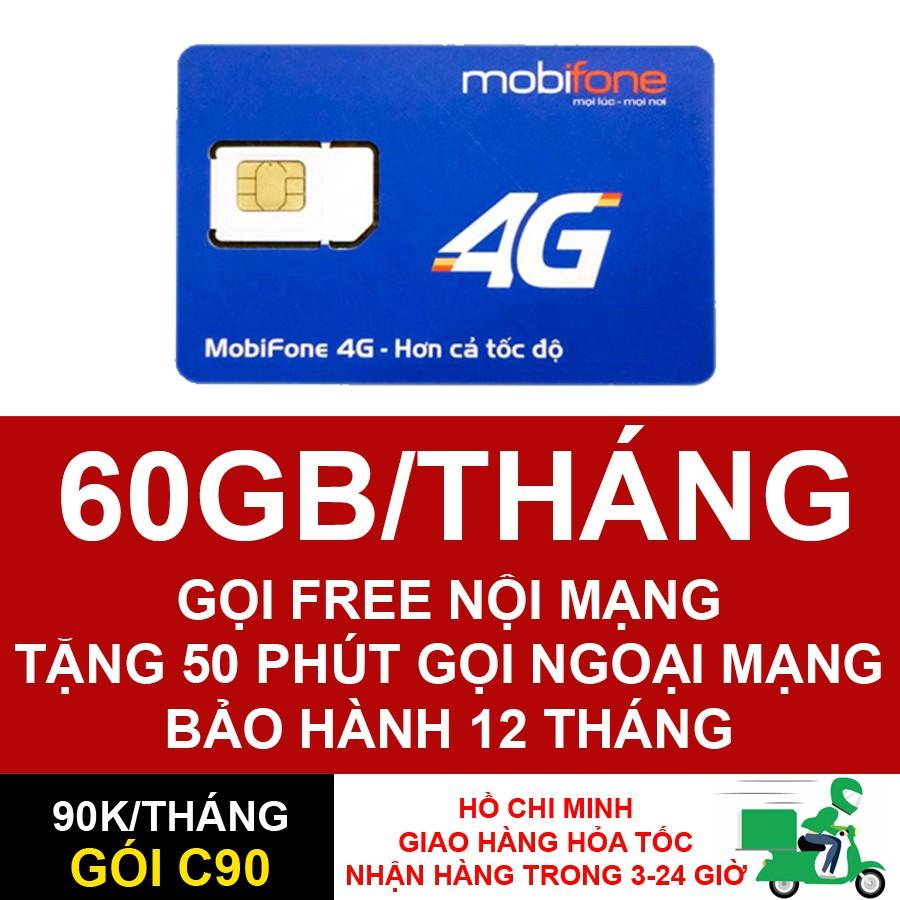 SIM 4G MOBIFONE C90 60GBGB/THÁNG NGHE GỌI THẢ GA