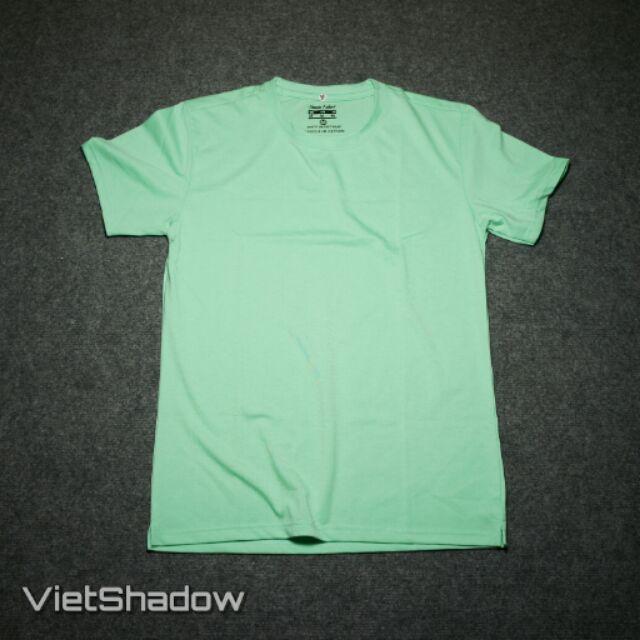 Áo phông trơn thương hiệu VietShadow cổ tròn màu xanh bạc hà