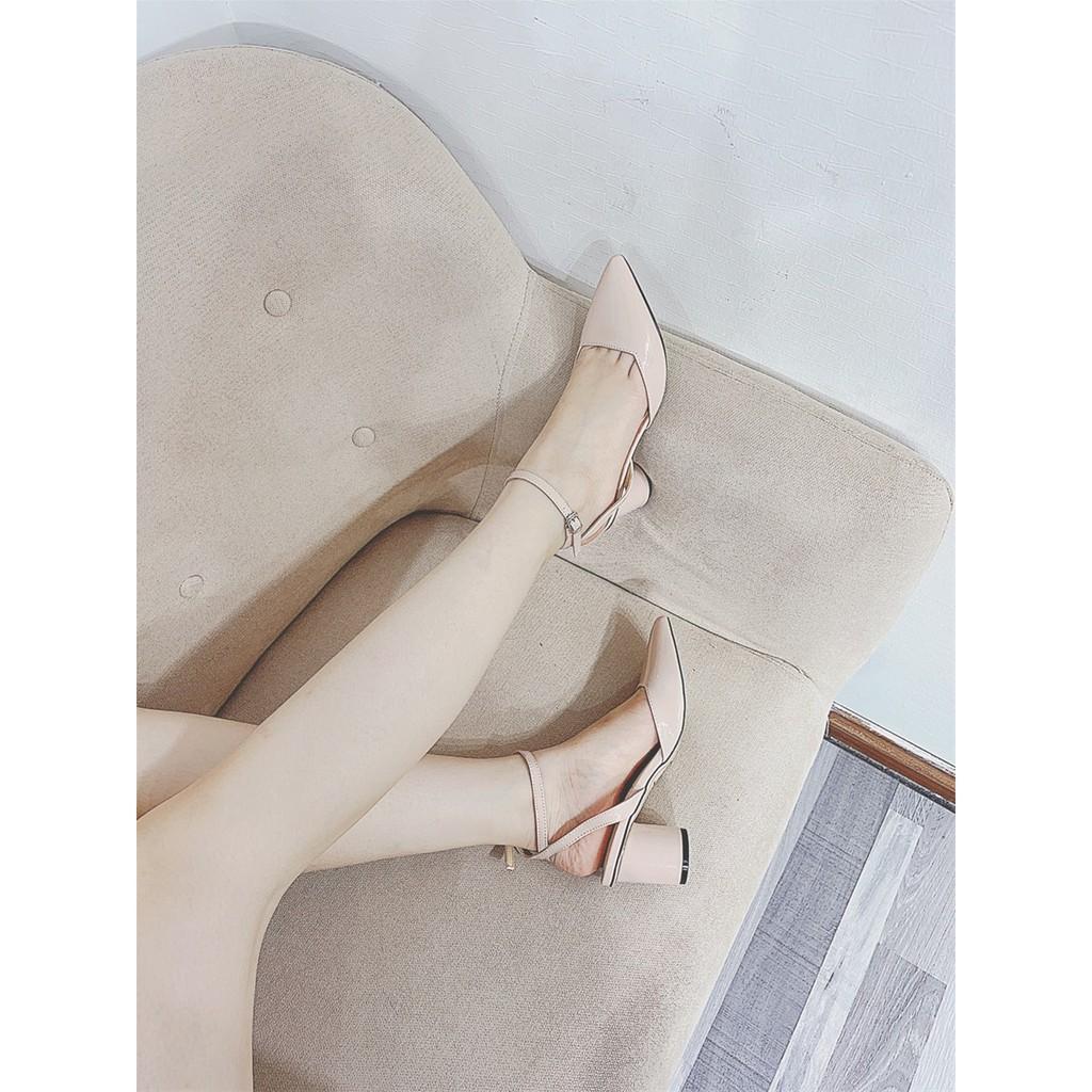 #001715 Giày Vimily mũi nhọn, da bóng, cài cổ, gót tròn 5p