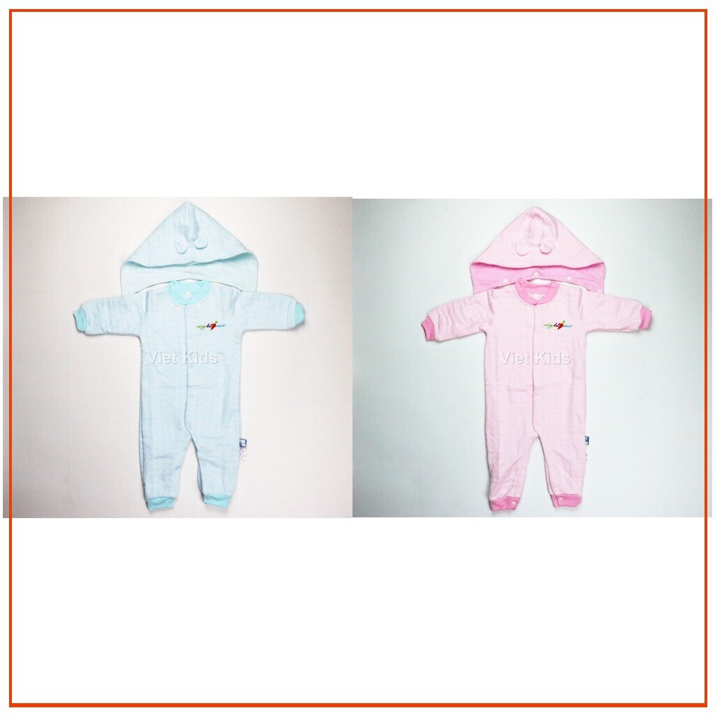 [SIÊU_ SALE] Bộ Liền Thân có nón vải dệt Bông Caro Baby mommy ngộ nghĩnh (cho bé sơ sinh từ 1-6 tháng)