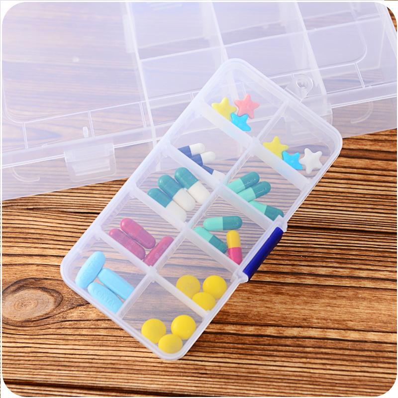 Hộp đựng thuốc, hộp đựng trang sức 10 ngăn bằng nhựa trong suốt (H10N)