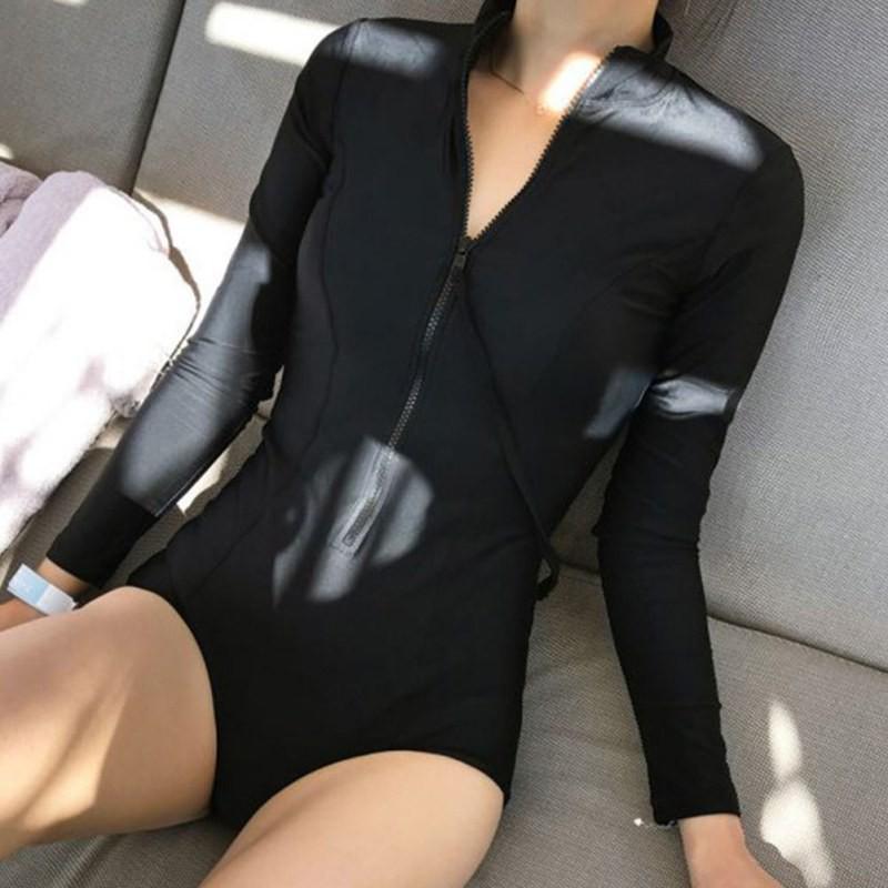Đồ bơi một mảnh tay dài khoá kéo chất liệu co giãn thoải mái