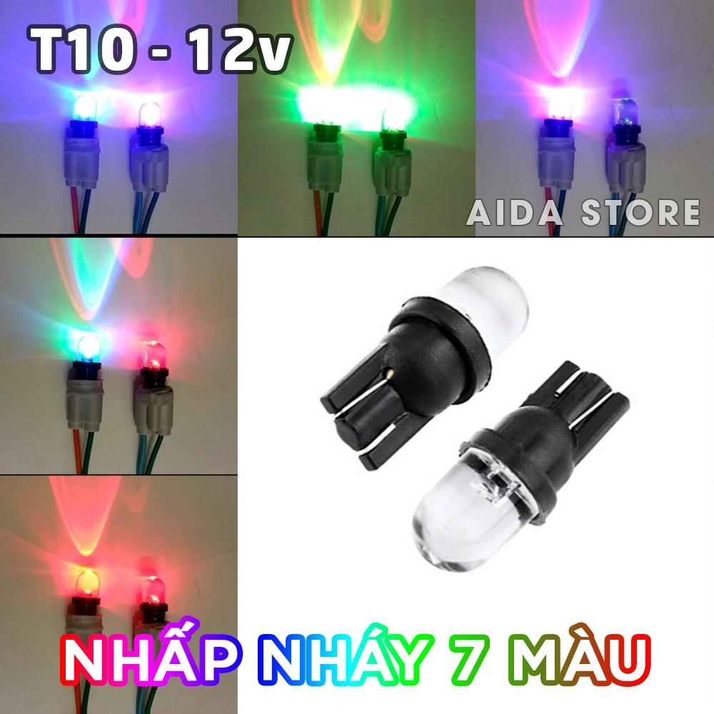 Bóng đèn LED T10 nhấp nháy 7 màu cho demi, xi nhan, mặt đồng hồ xe máy