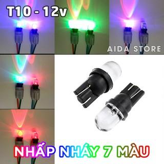 Yêu ThíchBóng đèn LED T10 nhấp nháy 7 màu cho demi, xi nhan, mặt đồng hồ xe máy