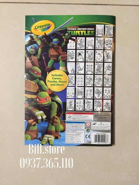 Tập tô màu kèm bút lông Ninja Rùa Crayola Coloring Activity Pad Ninja Turtles