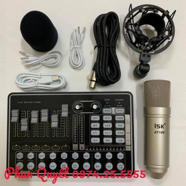 BỘ COMBO míc hát karaoke livestream online micro ISK AT100 CARD H9 BLUETOOTH THẾ HỆ MỚI 21 HIỆU ỨNG