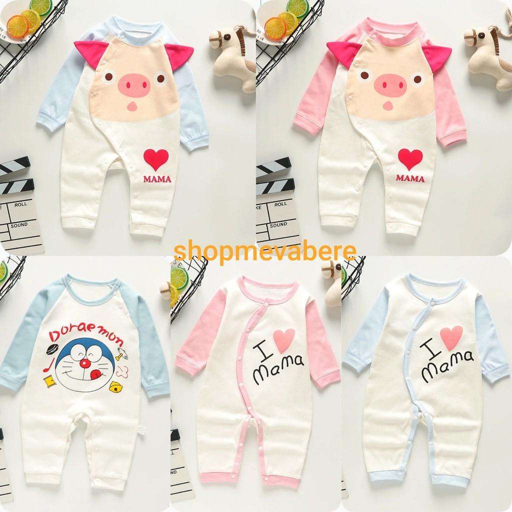 Body dài liền thân, bodysuit dài tay cotton cho bé trai và bé gái sơ sinh  từ 3-13kg, hàng đẹp xuất Hàn