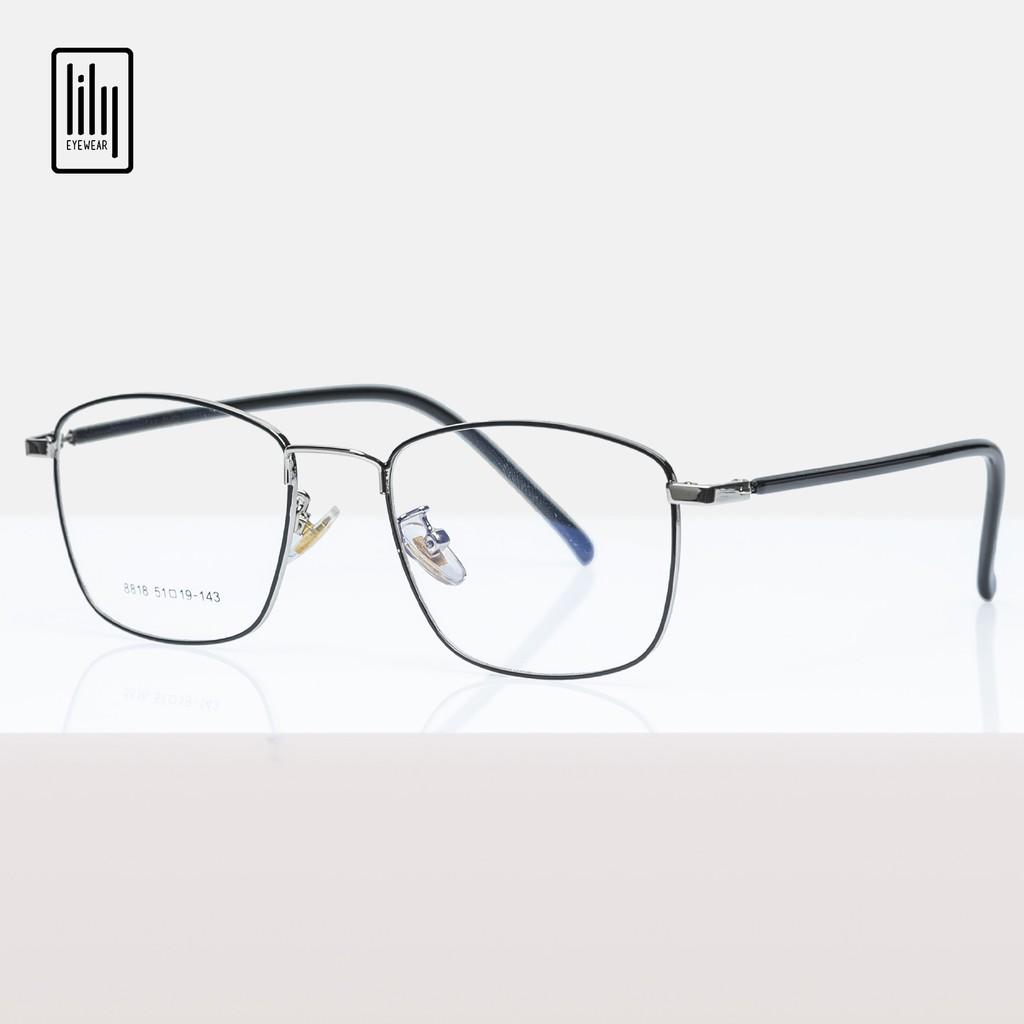 Gọng kính cận nam nữ Lilyeyewear kim loại, mắt vuông, nhiều màu - Y8818
