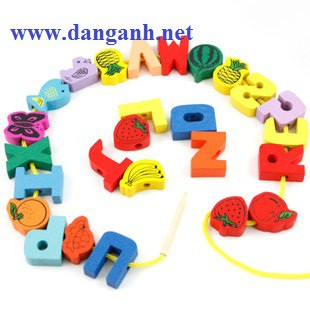 Đồ chơi gỗ Bộ luồn hạt sâu vòng chữ cái LH01 đồ chơi gỗ cho bé