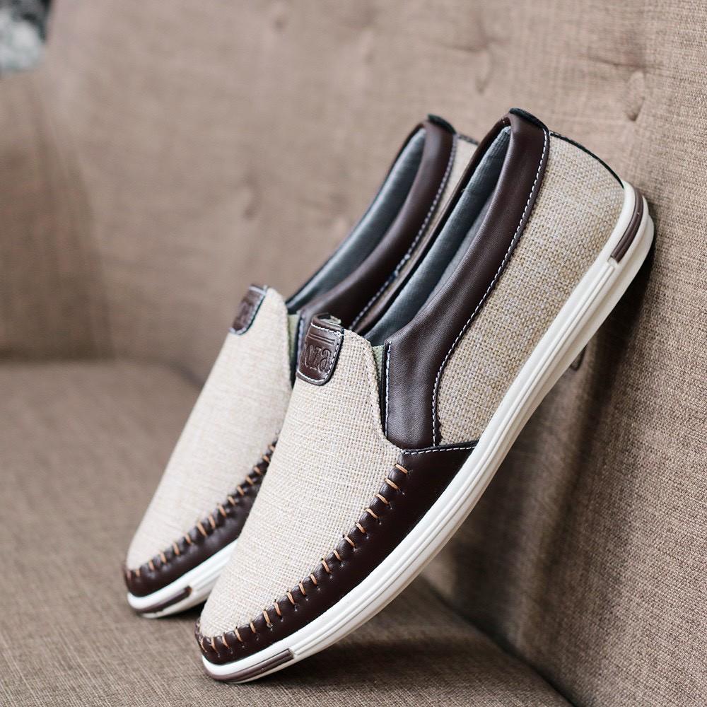 Giày lười mọi thời trang khâu sườn có 2 màu cá tính