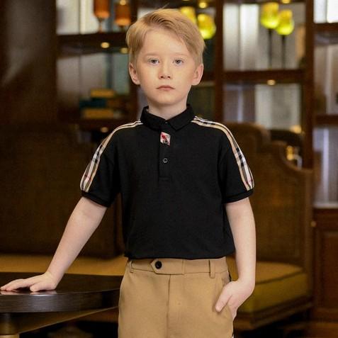 Áo polo bé trai thiết kế 137Kids Áo phông burberry kẻ vai sang chảnh chất cotton thấm hút mồ hôi