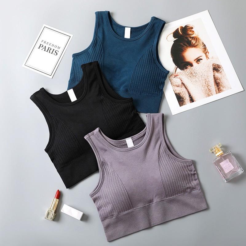 Áo ngực thể thao áo Bra tập Gym Sport Yoga liền mảnh có đệm ngực tháo rời 3 màu
