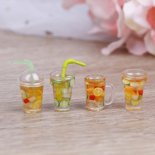 【tns】1:12 Dollhouse mini resin fruit tea cup simulation drinks model toy【VN】