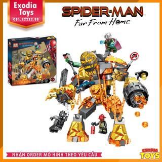 Xếp hình Spider-Man Far from Home : Người Nhện và Mysterio chiến đấu quái vật Nham Thạch Molten Man – PRCK 64020