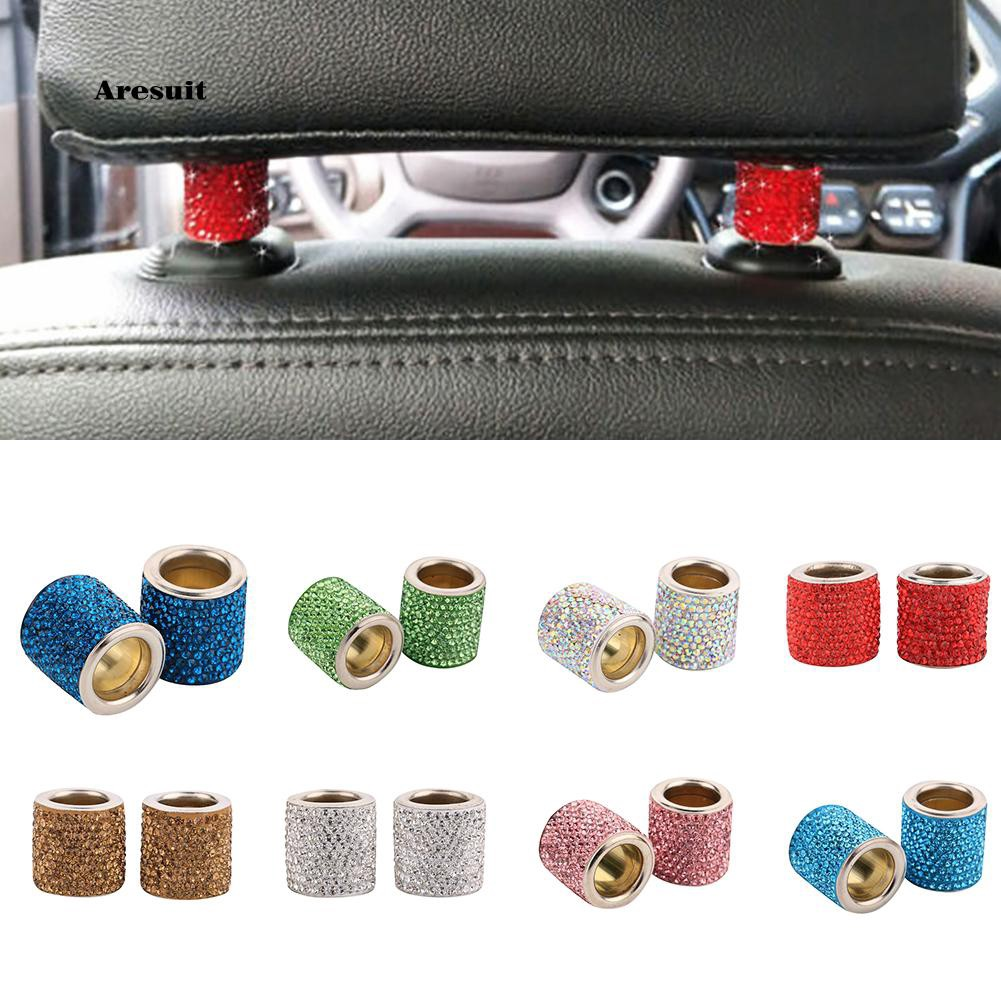 2pcs Bling Car Headrest Seat Ring interior headrest decorative crystal collar
