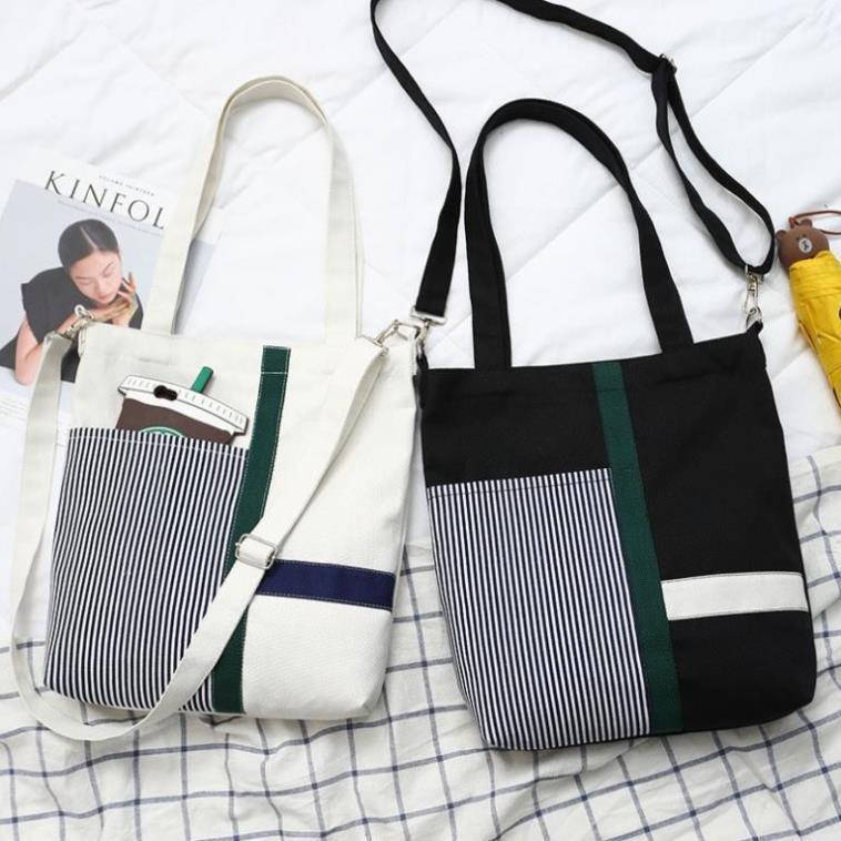 Túi tote vải phối kẻ sọc nhiều màu TX85