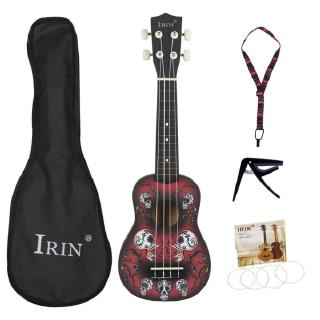 21inch Ukulele Cool Skull Pattern Basswood Ukelele 4 Strings Instrument with Bag+Strap+String+Capo
