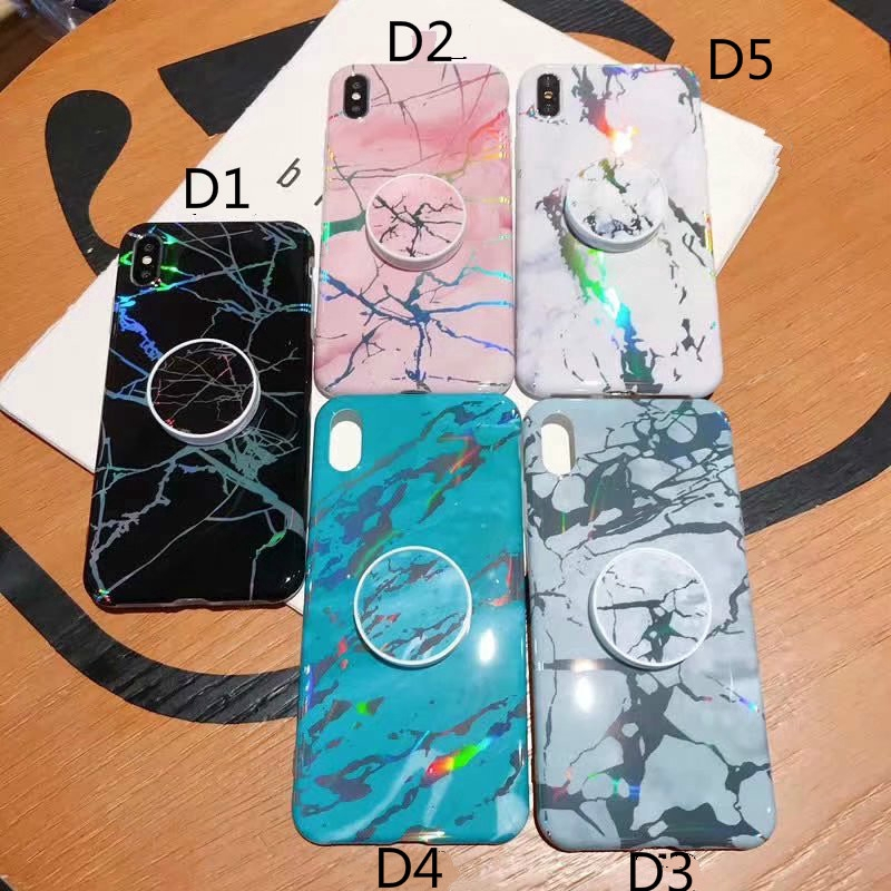 Glossy Laser Marble Phone Case Cho Samsung Galaxy S7 Edge Note 9 8 Cover with Grip Stand Holder