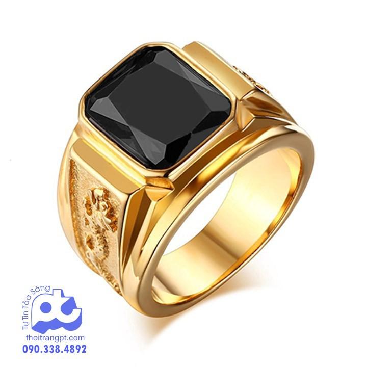 Nhẫn nam inox rồng vàng đá đen cao cấp không đen giá rẻ HCM - PT_N