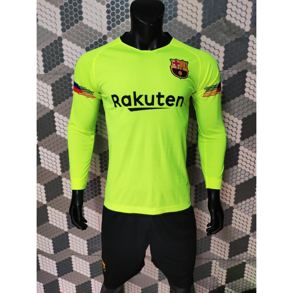Quần áo đá banh tay dài Barca chuối 2018-2019