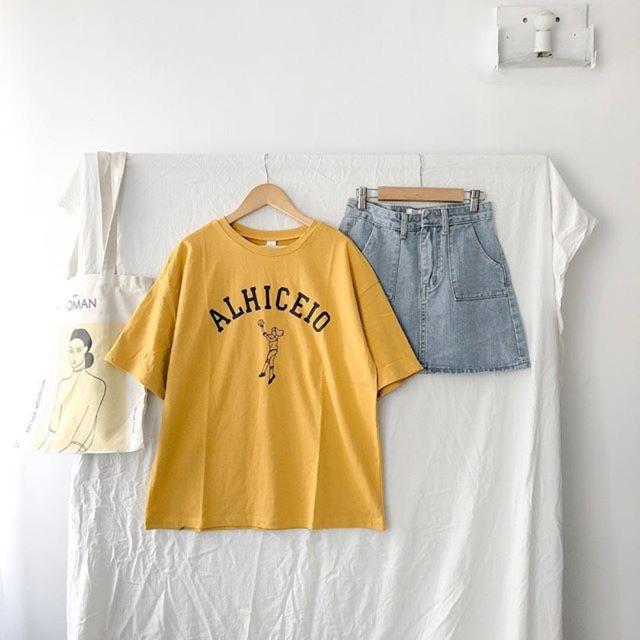 Set áo phông ALHICEIO và chân váy jean dáng A